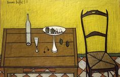 Bernard Buffet, Table et chaise , 1950, Oil on canvas
