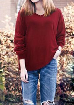 Wine Red Plain V-neck Streetwear Cotton Pullover Sweater