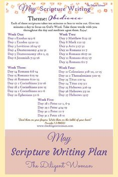 May's Scripture Writing plan is here! This month write scriptures that teach obedience. Learn what God expects, examples of it, and how to be obedient. Bible Study Plans, Bible Study Notebook, Bible Plan, Bible Study Tips, Bible Study Journal, Writing Plan, Writing Challenge, Scripture Reading, Scripture Study