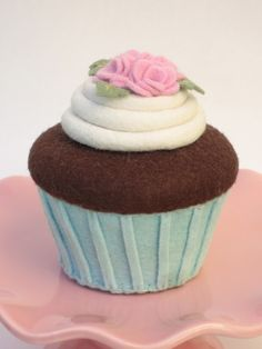 Felt Cupcake Blue Aqua Chocolate Cupcake With Pink Roses