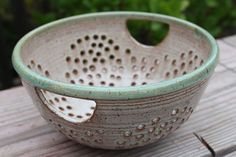Handles.  Bridges Pottery Colander   Berry Bowl  Strainer by bridgespottery,