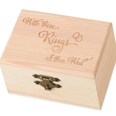 """WeddingDepot.com ~ I Thee Wed Ring Presentation Box ~ The ring bearer will be able to wrap his little hands around this eye catching ring box.  Rings can be carried down the aisle with ease in this pine ring box measuring 4.875"""" x 3"""" x 2""""."""