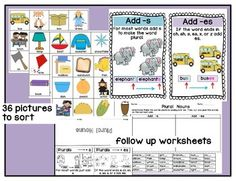 This is a great center activity to help students practice adding s or es to make a noun plural. In this PDF I have included : Singular And Plural Nouns, Writing Curriculum, Cut And Paste, Picture Cards, Activity Centers, Sorting, School Stuff, Worksheets