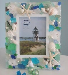 seaglass frame project Get your bulk Sea Glass supplies here https://www.etsy.com/listing/89722268/bulk-sea-glass-1-lb-of-bulk-seaglass?