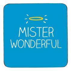 Mister Wonderful Coaster - blue Happy Jackson drinks coaster