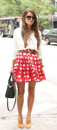 Vibrant red skirt.