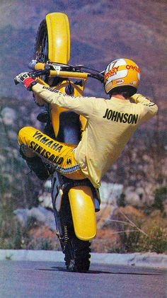 Rick Johnson - Vintage Yamaha Motocross - Wheelie - Old Dirt Bikes