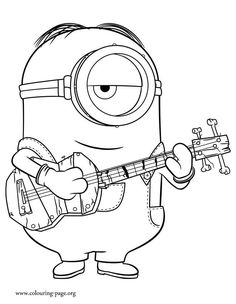in this beautiful picture stuart is playing guitar print and color this free minions coloring sheet and enjoy