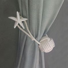 Monkey Fist Drapery Tie Back and a dozen other great ideas for using rope in your coastal or nautical interior. Lots of DIY ideas. Nautical Interior, Nautical Design, Nautical Home, Nautical Bath, Coastal Interior, Nautical Style, Coastal Furniture, House Furniture, Coastal Style