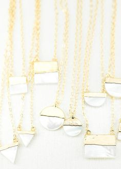 Gorgeous gold dipped mother of pearl necklaces