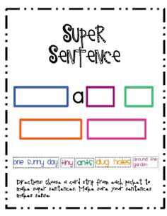 Sarah's First Grade Snippets: Super Sentences (with two freebies!)