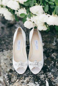 White Jimmy Choo bridal shoes | Image by Lisa Poggi