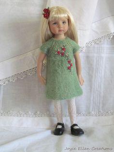 """Little Darlings 13"""" Effner BJD fashion green & red knit OOAK set handmade by JEC"""