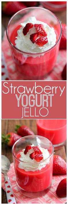 This Strawberry Yogurt Jello will be your new favorite snack. It is low in calories and satisfies that sweet snack craving. Can add strawberries to the jello too. Jello Deserts, Köstliche Desserts, Low Carb Desserts, Delicious Desserts, Yummy Food, Sweet Desserts, Jello Recipes, Yogurt Recipes, Ww Recipes