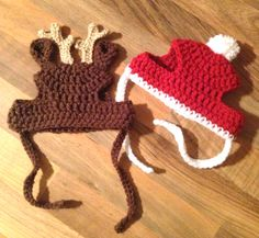 Crochet Pattern // Cat or Small Dog Christmas Beanie Hats Chat Crochet, Crochet Santa, Crochet Baby, Free Crochet, Crochet Dog Hat Free Pattern, Crochet Cat Hats, Funny Crochet, Crochet Birds, Knitted Cat