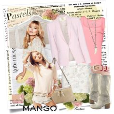 Mango - pastels, created by ansev. Give me that blazer already!
