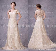 Wholesale A Line Wedding Dresses - Buy Vintage Designer Lace Wedding Dresses 2015 Real Image V Neck Short Sleeves Covered Button A Line Spring Garden Bridal Gowns BZP0200, $145.75 | DHgate.com