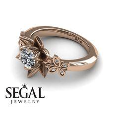 Rose Gold Engagement Ring by Segal Jewelry Lotus Engagement Ring, Elegant Engagement Rings, Yellow Engagement Rings, Gemstone Engagement Rings, Art Nouveau, Blue Sapphire Rings, Diamond Rings, Diamond Choker, Diamond Jewelry