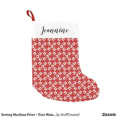 Sewing Machine Print + Your Name {Dark} Small Christmas Stocking available on Zazzle by Craft Love→→ #shopcraftlove #zazzlemade #crafts #stockings #holiday #craftroom #christmas #sewing #sewingmachine #sew
