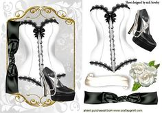 PRETTY BLACK WHITE LACE BASQUE WITH PEARLS SHOE on Craftsuprint - Add To Basket!
