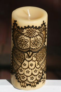 I'm loving this image as a tattoo! Henna Candle with a cute Henna Owl and Stars by RedwoodHenna,   http://wonderfultatoos.blogspot.com
