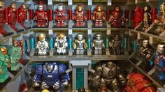 Reproduce the suit collection of Iron Man in the minifigs of Lego