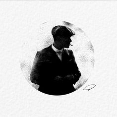 """Illustration by - """"My name is Thomas Shelby, and today I'm gonna kill a man!"""" if you would like to be featured… Black And White Painting, White Art, Tattoo Drawings, Art Drawings, Peaky Blinders Wallpaper, Stippling Art, Tatoo Designs, Trippy Wallpaper, Minimalist Drawing"""