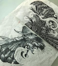 Tag teamin' with on this owl full chest piece today. Should be a fun day! Sketch Tattoo Design, Tattoo Sketches, Drawing Sketches, Tattoo Designs, Grey Art, Black White Art, Epic Tattoo, Desenho Tattoo, Chest Piece