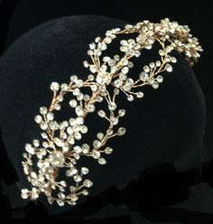 Gorgeous Rose Gold Crystal Hand Wired Floral Wedding Headband - Affordable Elegance Bridal -