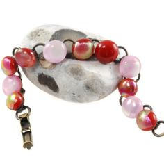 dichroic glass bracelet pinks and reds by bluedaisyglass on Etsy, Plain White Shirt, Pink Tone, Dichroic Glass, Beautiful Gifts, Organza Bags, Red And Pink, Gifts For Friends, Handmade Items, Beaded Bracelets
