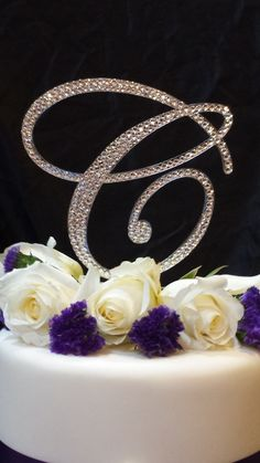 """6"""" Tall Initial Monogram Cake Topper Crystal Swarovski Crystal Rhinestone  A B C D E F G H I J K L M N O P Q R S T U V W X Y Z"""