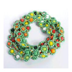 Collier ou bracelet * fleurs tropicales * rouge, orange, jaune, vert, blanc et noir en perles rocailles