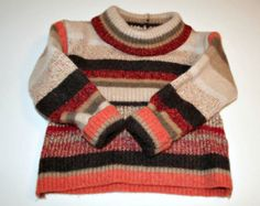 ON SALE Recycled Felted Wool Kids Sweater Orange Brown Size 18 to 24 months OOAK