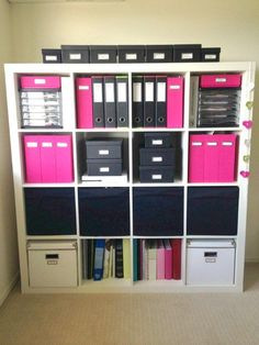 Basket shelf home office storage solutions ideas. I need my color theme to be purple and green!