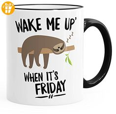 Faultier Kaffeetasse Sloth Wake me up when it's friday glänzend Teetasse Keramiktasse MoonWorks® schwarz unisize - Tassen mit Spruch | Lustige Kaffeebecher (*Partner-Link)