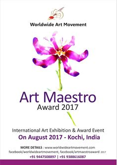 """We are conducting an event named   """"ART MAESTRO AWARD 2017"""" We are inviting entries (Drawing, Painting, Print Making & Sculpture)  from artists who like to join the event.  The best entry will select for ART MAESTRO AWARD (Rs. 25,001+Memento+Certificate),  P.J. Paul Memorial Sculpture Award (Rs. 5,001+Memento+Certificate) and Best 10 entries will select for HONORABLE MENTION AWARD (Rs. 2000/- +Memento+Certificate).  All participants will get participation certificate.  The brochure w..."""