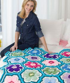 Posey Throw, #crochet, free pattern, hexagon throw, blanket, #haken, gratis patroon (Engels), granny square, hexagon deken, sprei