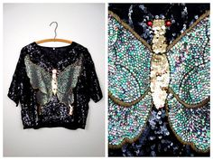 Dolman Sleeve Sequin Top // Iridescent Green & Gold by braxae