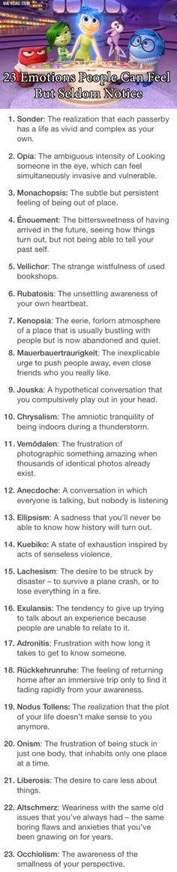23 emotions people feel but seldom notice