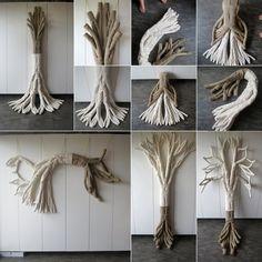 """""""D'autre part"""" (détails) n°136 : 295 x 95 x 15 cm sculpture en fils de lin crochetés + rembourrage synthétique [mai 2016] Agnès Seybileau"""
