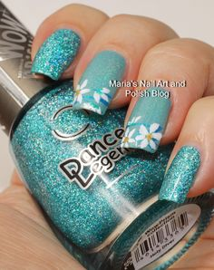 Floral French music box nail art