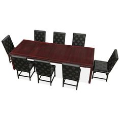 114in Rosewood Longevity Design Dining Table with 8 Chairs.  Intricately carved in Chinese Key with longevity symbols. Cherry finish. Oriental Rosewood dining set.