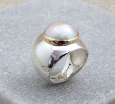 Mabe pearl silver ring pearl rings women silver ring by Baiwy