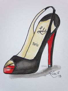 Fashion illustration:    louboutin inspired shoe sketch  peep toe  slingback, original pen and watercolor via Etsy