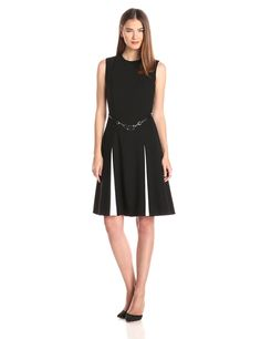 Belted Fit-and-Flare Dress by Calvin Klein