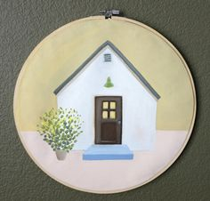 Little House Embroidery hoop painting by AliceLoArt on Etsy Hoop, Alice, Embroidery, Abstract, Unique Jewelry, Handmade Gifts, Painting, Etsy, Summary