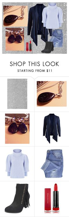 """""""Blue Goldstone Necklace Earring Set-18 in Stainless Steel Cable Chain-Hypoallergenic-Button Posts Stainless-Gift For Her-Stocking Stuffer"""" by bamasbabes on Polyvore featuring Marco de Vincenzo, Hot Ginger, Temperley London, Taya, Max Factor, jewelry, necklace, stainless and plus size clothing"""
