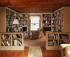 I like the idea of sectioning off one side of the living room to create a library/reading room/office like this. It has the advantage of not destroying the lines of the room or making it seem too small.] Cozy Home Library Interior Idea Cozy Home Library, Home Library Design, Library Room, Dream Library, Home Interior Design, House Design, Interior Ideas, Room Interior, Library Ideas