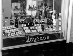 Window display for Hayden's Jewelers. The store was located at 106 East Market Street.