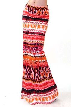 Paradise Gypsy Boho Skirt - Paradise Gypsy Boho Skirt A vibrant statement maxi skirt withelastic waist.Effortlessly pairs with a luxe white blouse with wide belt or cami, or add some grunge with a vintage rocker tee and boots.  Cold Hand Wash Do Not Bleach Do Not Wring Iron Low Heat Drycleanable Lay Flat to Dry
